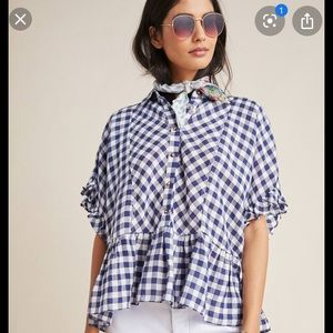 Maeve Flounced  Anthro gingham ruffle shirt M